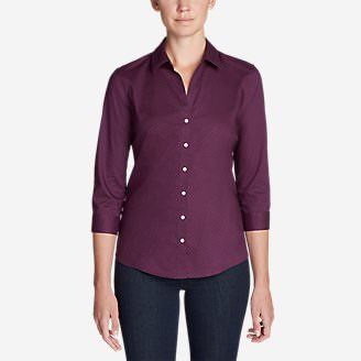 Women's Wrinkle-Free 3/4-Sleeve Shirt - Print in Purple