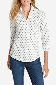 Women's Wrinkle-Free 3/4-Sleeve Shirt - Print in White