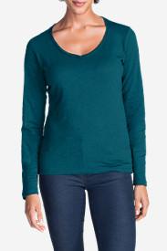 Women's Essential Slub Long-Sleeve V-Neck T-Shirt in Blue