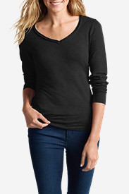 Women's Essential Slub Long-Sleeve V-Neck T-Shirt in Black