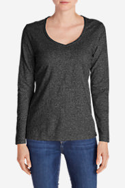 Women's Essential Slub Long-Sleeve V-Neck T-Shirt in Gray