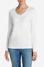 Women's Essential Slub Long-Sleeve V-Neck T-Shirt in White