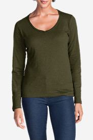 Women's Essential Slub Long-Sleeve V-Neck T-Shirt in Green