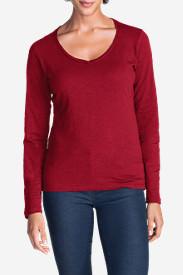 Women's Essential Slub Long-Sleeve V-Neck T-Shirt in Red