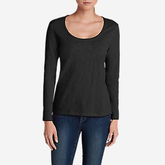 Women's Essential Slub Long-Sleeve Scoop-Neck T-Shirt in Black