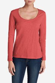 Women's Essential Slub Long-Sleeve Scoop-Neck T-Shirt in Red