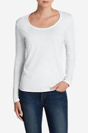 Women's Essential Slub Long-Sleeve Scoop-Neck T-Shirt in White