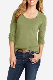 Women's Essential Slub Long-Sleeve Scoop-Neck T-Shirt in Green