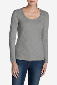 Women's Essential Slub Long-Sleeve Scoop-Neck T-Shirt in Gray