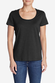 Women's Essential Slub Short-Sleeve Scoop-Neck T-Shirt in Black