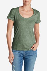 Women's Essential Slub Short-Sleeve Scoop-Neck T-Shirt in Green