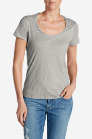Women's Essential Slub Short-Sleeve Scoop-Neck T-Shirt in Gray