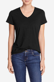 Women's Essential Slub Short-Sleeve V-Neck T-Shirt in Black