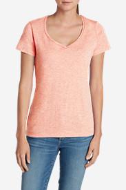 Women's Essential Slub Short-Sleeve V-Neck T-Shirt in Pink
