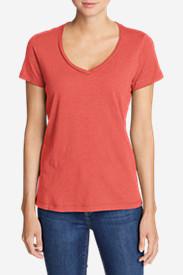 Women's Essential Slub Short-Sleeve V-Neck T-Shirt in Red