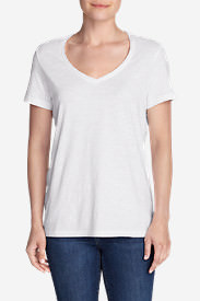 Women's Essential Slub Short-Sleeve V-Neck T-Shirt in White