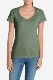 Women's Essential Slub Short-Sleeve V-Neck T-Shirt in Green