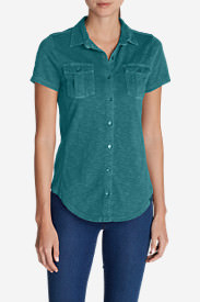 Women's Ravenna Short-Sleeve Button-Front Shirt in Green