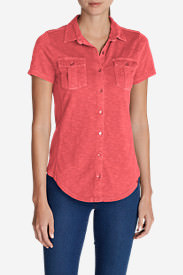 Women's Ravenna Short-Sleeve Button-Front Shirt in Red