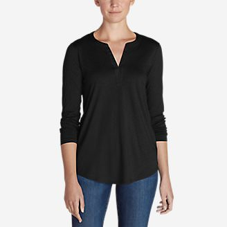 Women's Gate Check Long-Sleeve Split-Neck Tunic in Black