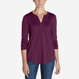 Women's Gate Check Long-Sleeve Split-Neck Tunic in Purple