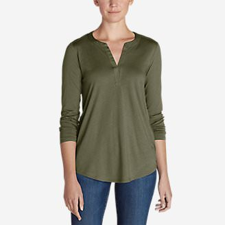 Women's Gate Check Long-Sleeve Split-Neck Tunic in Green