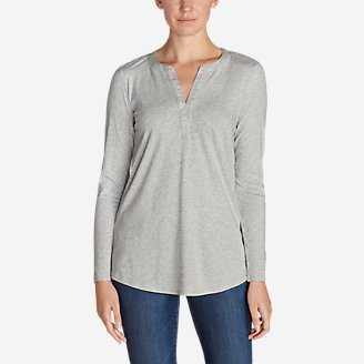 Women's Gate Check Long-Sleeve Split-Neck Tunic in Gray