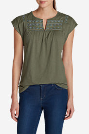 Women's Laurel Canyon Embroidered Top in Green