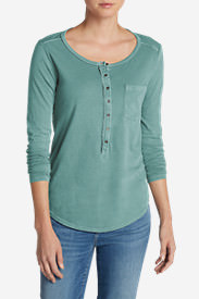 Women's Gypsum Henley Shirt - Solid in Blue