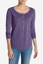 Women's Gypsum Henley Shirt - Solid in Purple