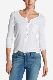 Women's Gypsum Henley Shirt - Solid in White
