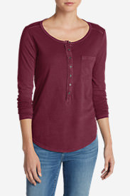 Women's Gypsum Henley Shirt - Solid in Red