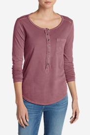 Women's Gypsum Henley Shirt - Solid in Red