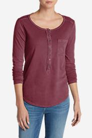 Women's Gypsum Henley Shirt - Solid in Green