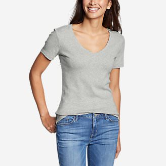 Women's Favorite Short-Sleeve V-Neck T-Shirt in Gray