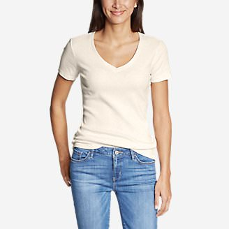 Women's Favorite Short-Sleeve V-Neck T-Shirt in Beige