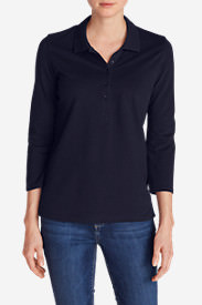 Women's 3/4-Sleeve Piqué Polo Shirt in Blue