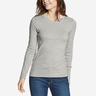 Women's Favorite Long-Sleeve Crewneck T-Shirt Petite in Gray