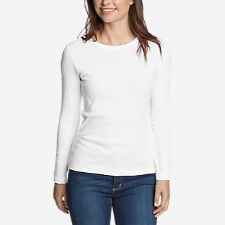 Women's Favorite Long-Sleeve Crewneck T-Shirt in White