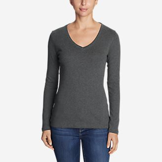 Women's Favorite Long-Sleeve V-Neck T-Shirt in Gray