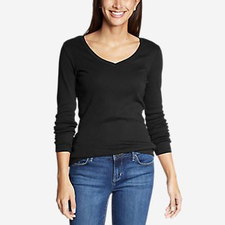 Women's Favorite Long-Sleeve V-Neck T-Shirt in Black