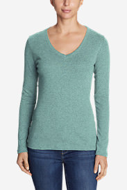 Women's Favorite Long-Sleeve V-Neck T-Shirt in Blue