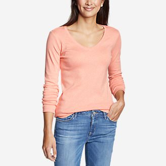 Women's Favorite Long-Sleeve V-Neck T-Shirt in Orange
