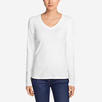d4829f19bfa14 Women's Favorite Long-Sleeve V-Neck T-Shirt in White