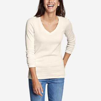 Women's Favorite Long-Sleeve V-Neck T-Shirt in Beige