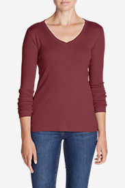 Women's Favorite Long-Sleeve V-Neck T-Shirt in Red