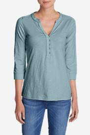 Women's 3/4-Sleeve Knit/Woven Henley Shirt in Blue