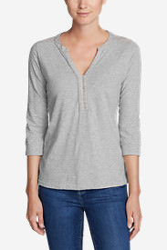 Women's 3/4-Sleeve Knit/Woven Henley Shirt in Gray