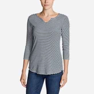 Women's Favorite Notched Neck 3/4-Sleeve Top - Stripe in Blue