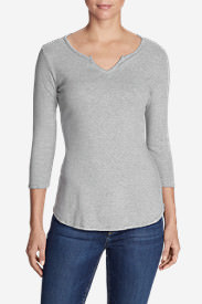 Women's Favorite Notched Neck 3/4-Sleeve Top - Stripe in Gray